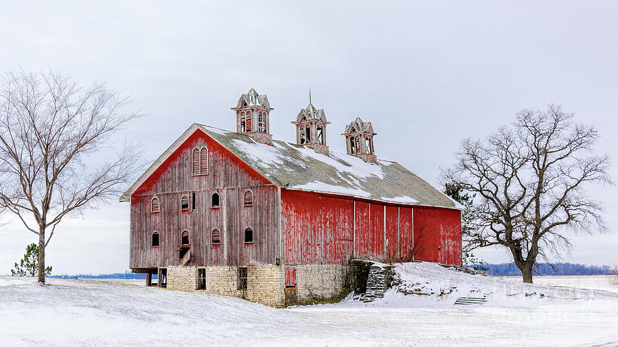 old weathered barn with cupolas photograph by randy jacobs