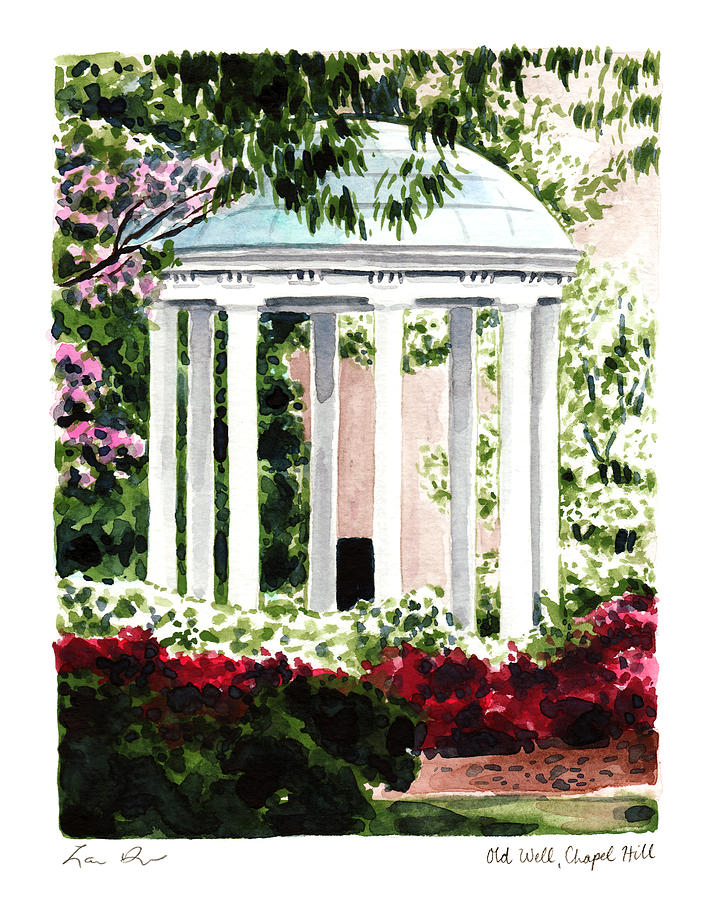 Old Well Chapel Hill Unc North Carolina Painting By Laura Row