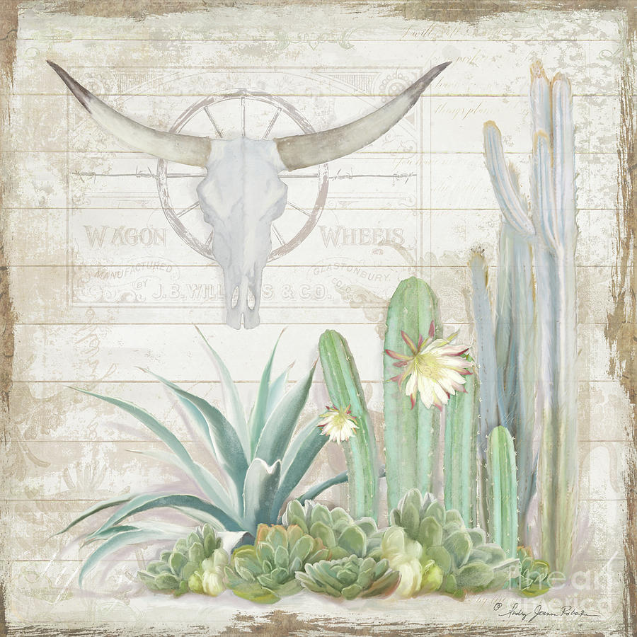 Longhorn Cow Skull Painting - Old West Cactus Garden w Longhorn Cow Skull n Succulents over Wood by Audrey Jeanne Roberts