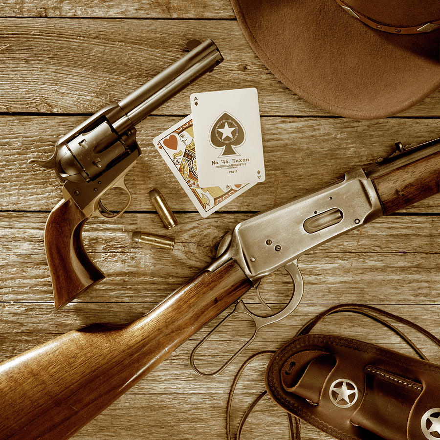 Old West Weapons In Sepia Photograph By Jerry Mcelroy
