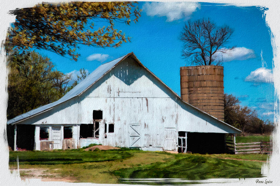 Barn Photograph - Old White Barn With Treed Silo by Anna Louise