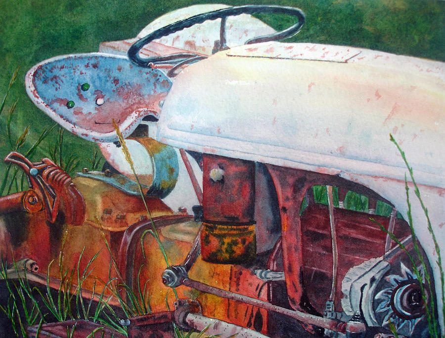Old Tractor Painting - Old White Tractor Out To Pasture by Rosie Phillips