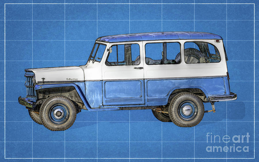Old willys jeep wagon blueprint digital art by randy steele willys jeep digital art old willys jeep wagon blueprint by randy steele malvernweather Images