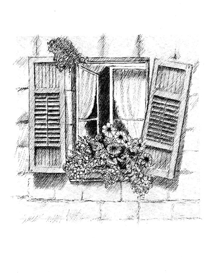 Old Window Drawing By Al Intindola