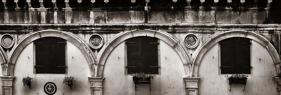 Venice Photograph - Old Window Panorama by Songquan Deng