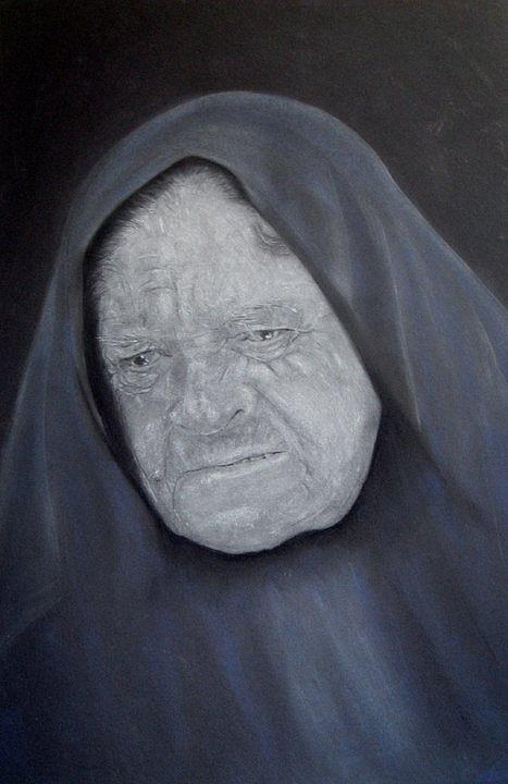 Old Woman Pastel by Brian Marsden