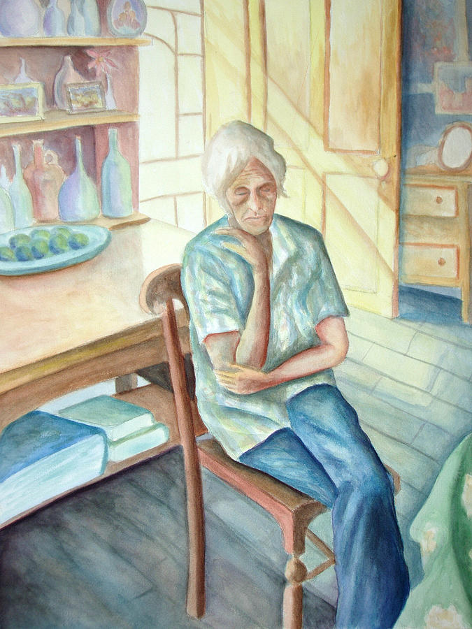 Woman Painting - Old Woman by Nancy Mueller