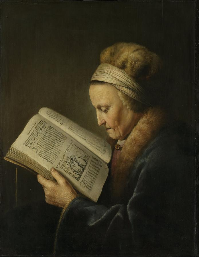 Old Woman Painting - Old Woman Reading by Gerard Dou