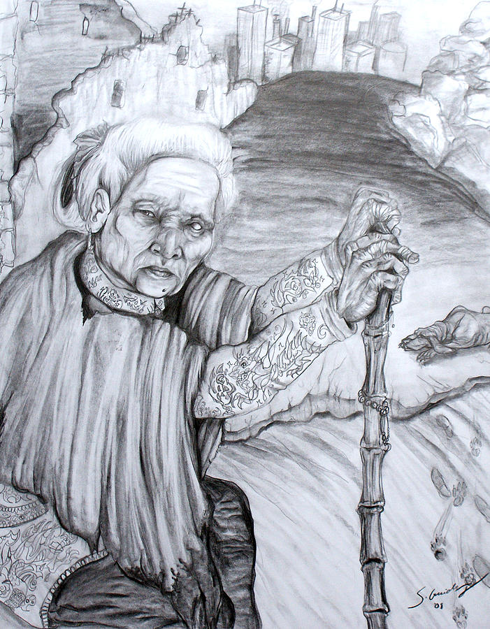 Old Woman Drawing - Old Woman by Sara Guidry