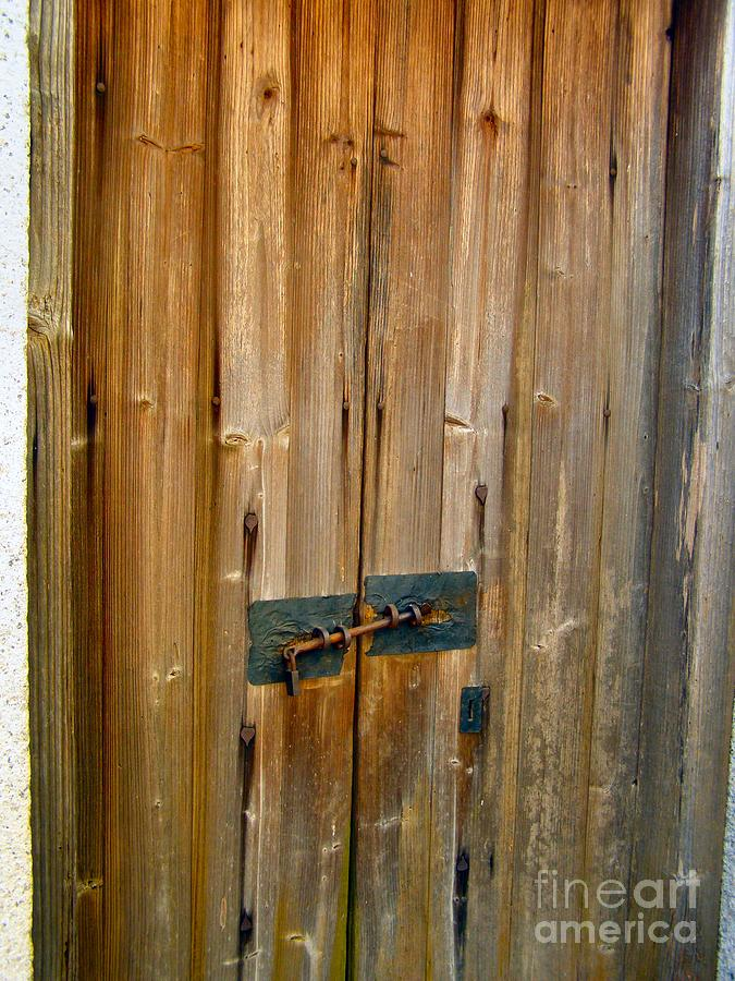 Door Photograph - Old Wooden Door Chinese Village Hong Kong Two by Kathy Daxon