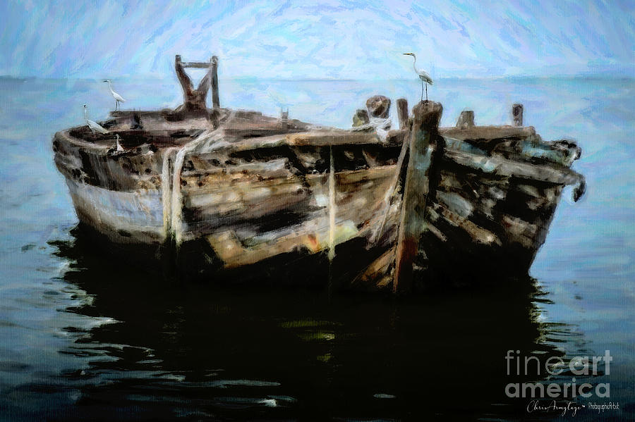 Nautical Painting - Old Wooden Fishing Boat by Chris Armytage