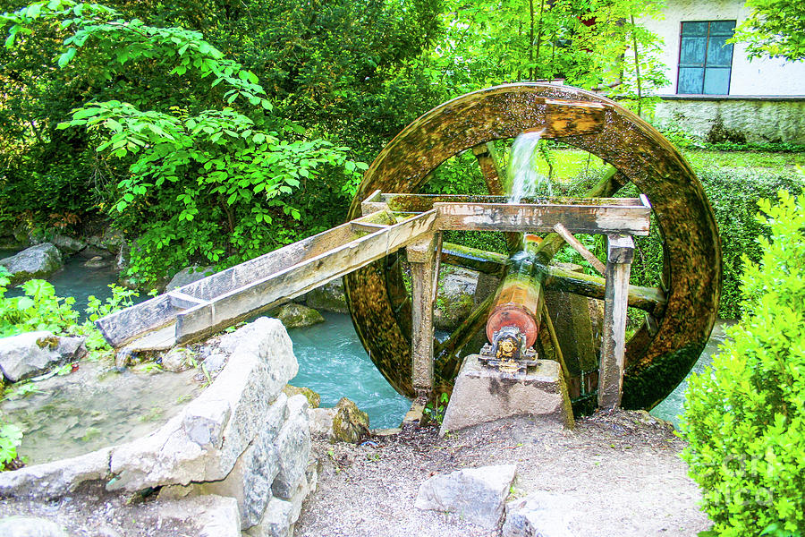 Water Photograph - Old Wooden Water Wheel  by Amy Sorvillo
