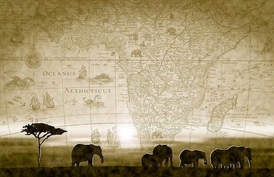 Elephants Digital Art - Old World Africa Antique Sunset by Dana Bennett
