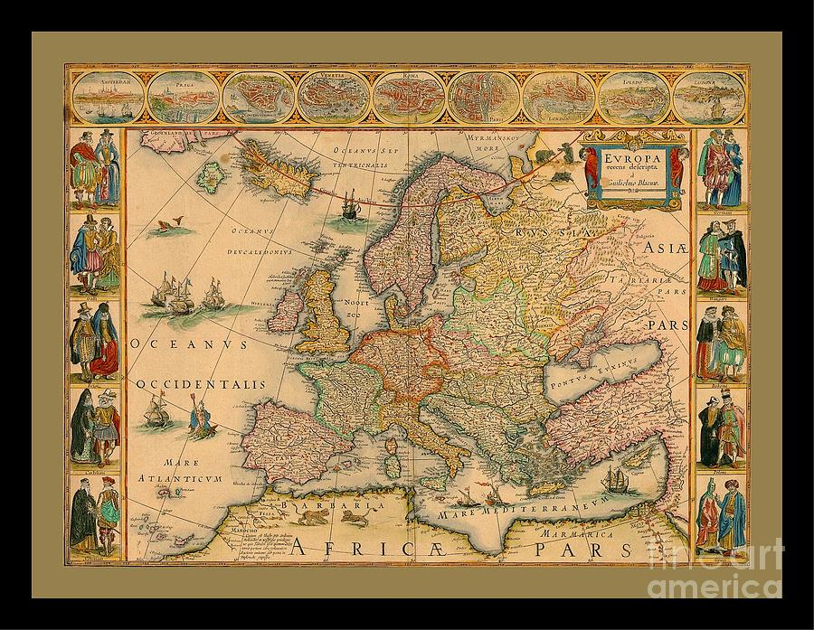 Old world map of europe painting by pd france maps painting old world map of europe by pd gumiabroncs Choice Image