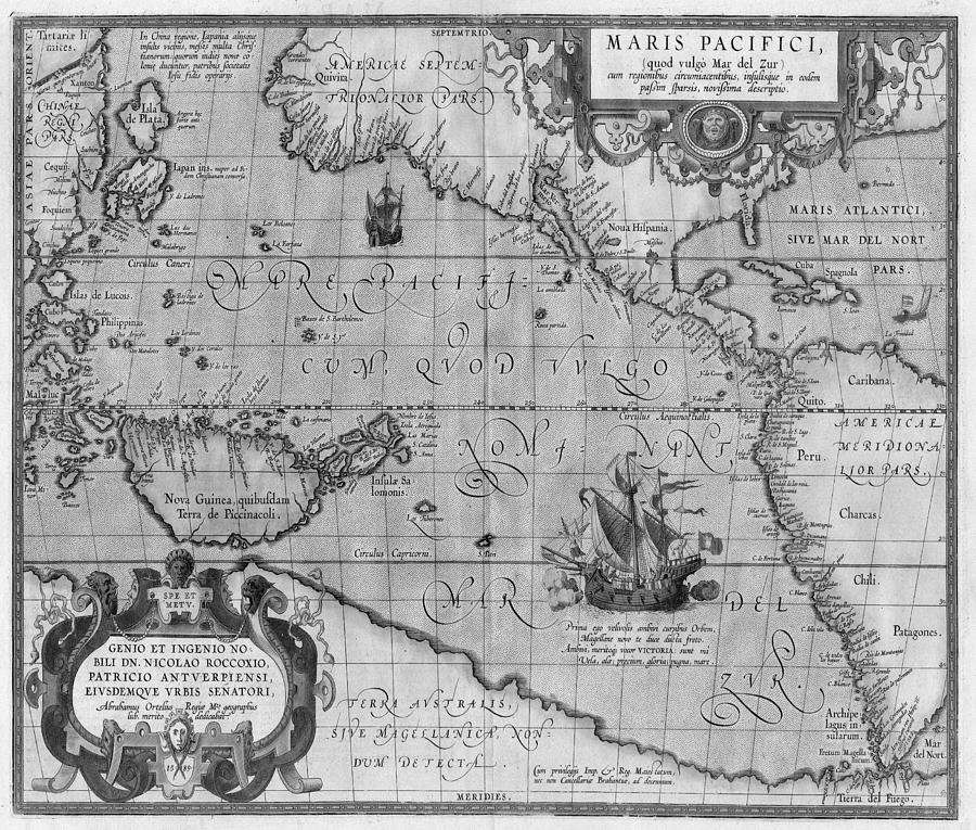 Old world map print from 1589 black and white drawing by marianna old world map drawing old world map print from 1589 black and white by gumiabroncs Images
