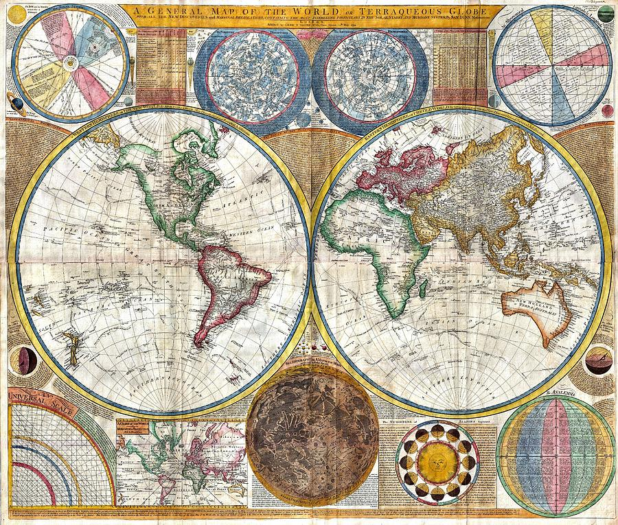 photograph relating to Vintage World Map Printable called Previous Worldwide Map Print Versus 1794