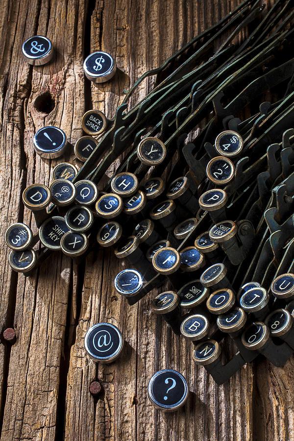 Typewriters Photograph - Old Worn Typewriter Keys by Garry Gay
