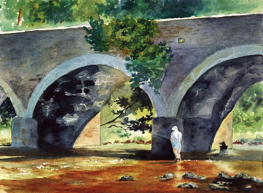 Landscape Painting - Old York Road Bridge Neshaminey Creek Bucks County Pa by Paul Temple