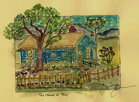 Olde Blue House Painting by Jon Noah