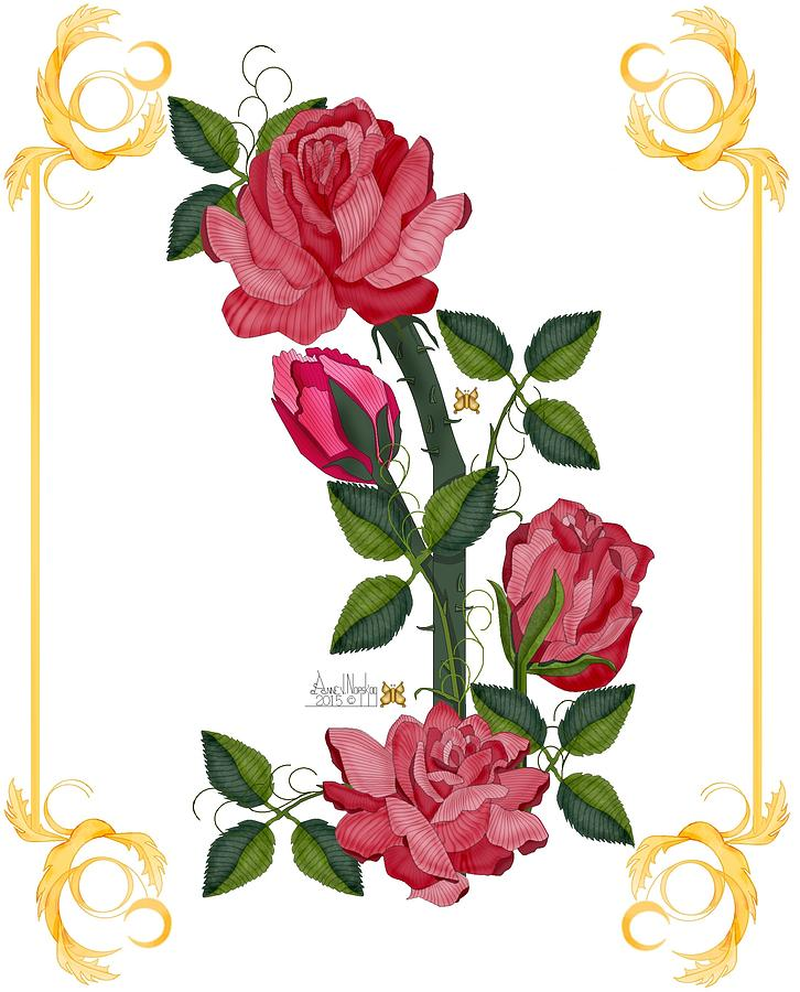 Pink Roses Painting - Olde Rose Pink With Leaves And Tendrils by Anne Norskog