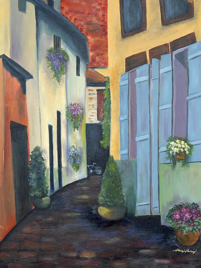 Street Scene Painting - Olde Towne by Shirley Lawing