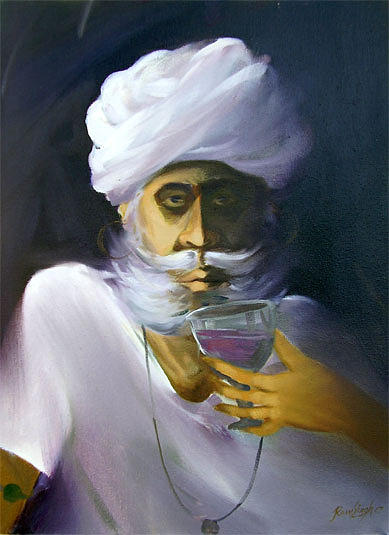 Painting Painting - Oldman With Wine  by Ramsingh Bhati