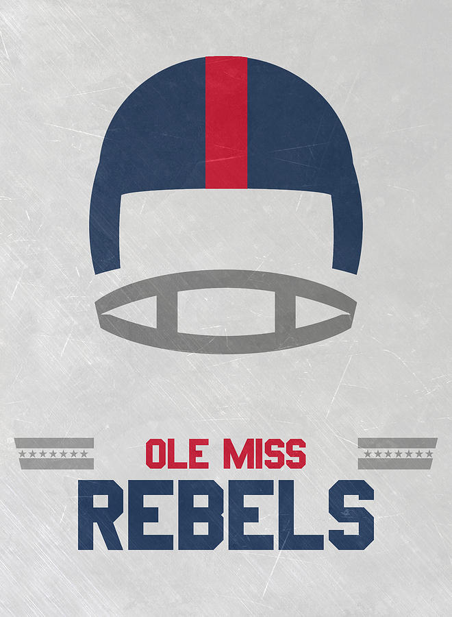 Rebels Mixed Media - Ole Miss Rebels Vintage Football Art by Joe Hamilton