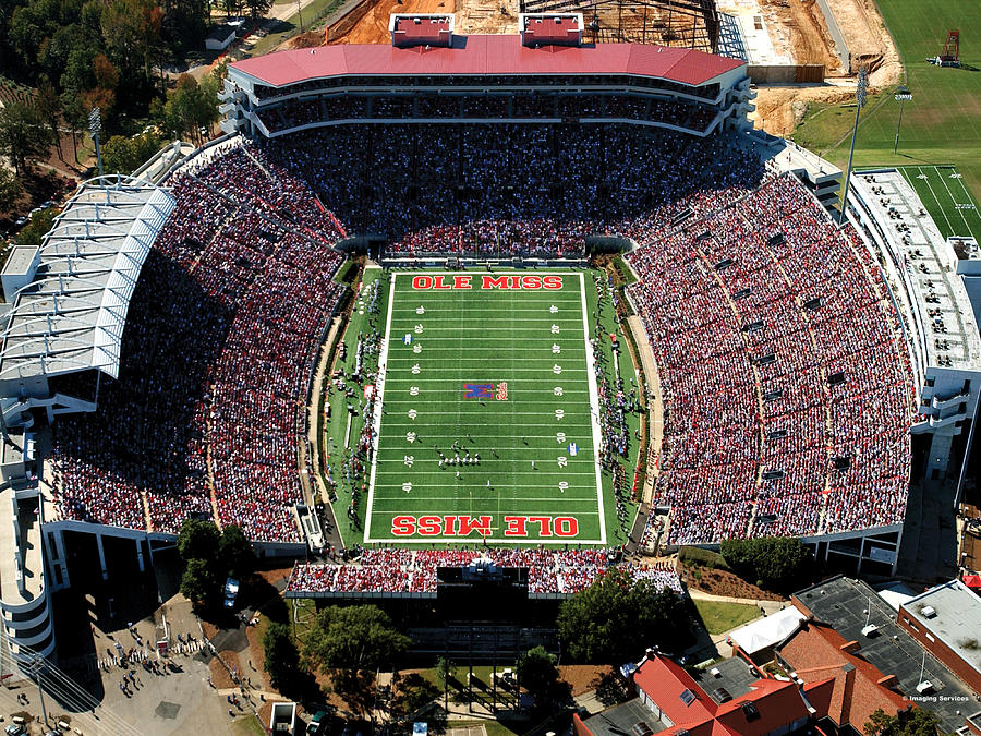 Ole Miss Photograph - Ole Miss Vaught-hemingway Stadium Aerial View by University of Mississippi - Imaging Services - Athletics