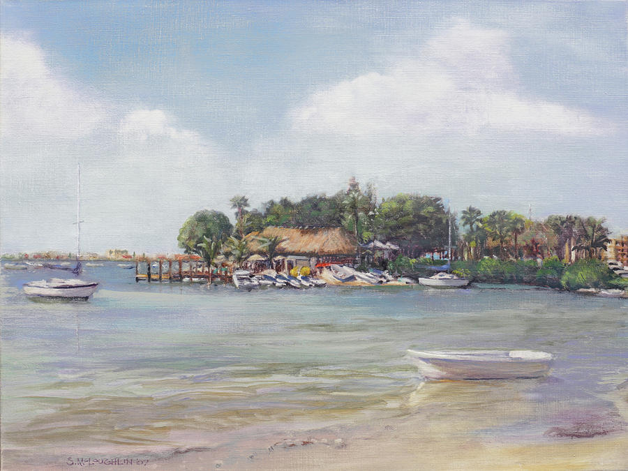 Tiki Bar Painting - O Learys Tiki Bar And Grill On Sarasota Bayfront by Shawn McLoughlin
