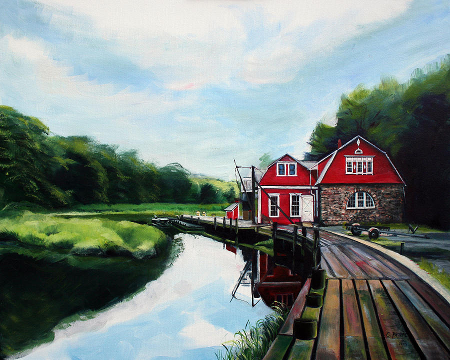 Boathouse Painting - Oles Boathouse In Riverside Connecticut by Colleen Proppe