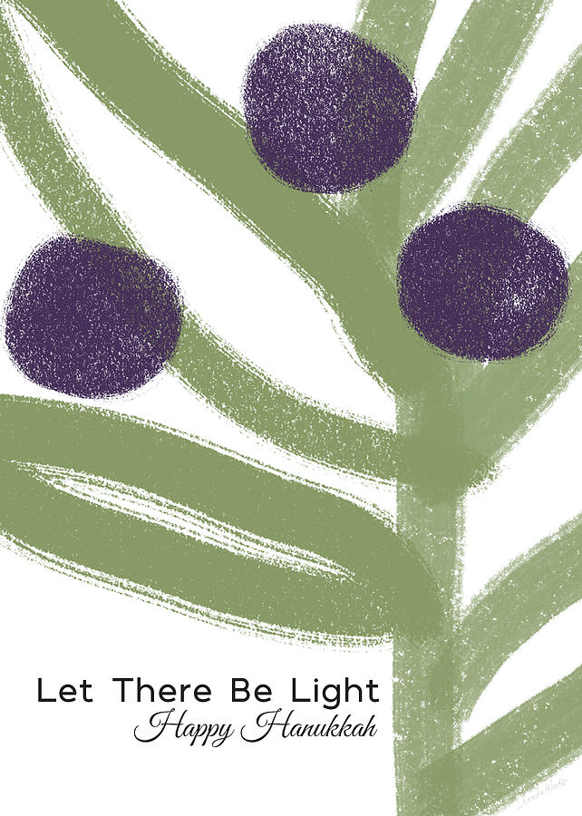 Hanukkah Mixed Media - Olive Branch Hanukkah Card- Art By Linda Woods by Linda Woods