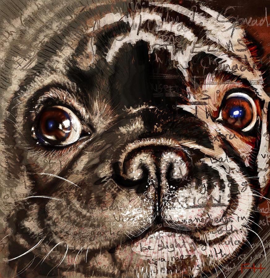 Dog Digital Art - Olive by Fay Helfer