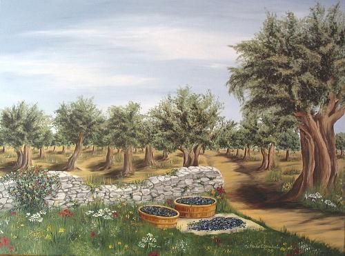 Olive Tree Painting - Olivenhain by Haike Espenhain