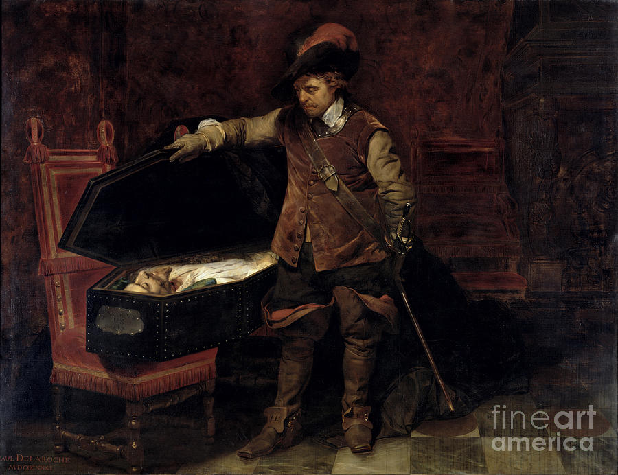 Oliver Painting - Oliver Cromwell Opening The Coffin Of Charles I  by Hippolyte Delaroche