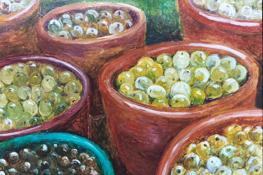 Olives Painting - Olives By The Crock by Jun Jamosmos