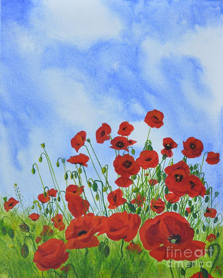 Olivias Poppies Painting by Sandra Phryce-Jones