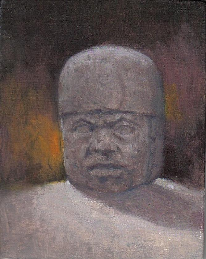 Olmec Stone Head Painting by Michael Gillespie