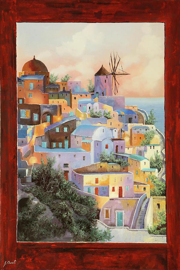 Windmill Painting - oltre la finestra il mulino a Santorini by Guido Borelli