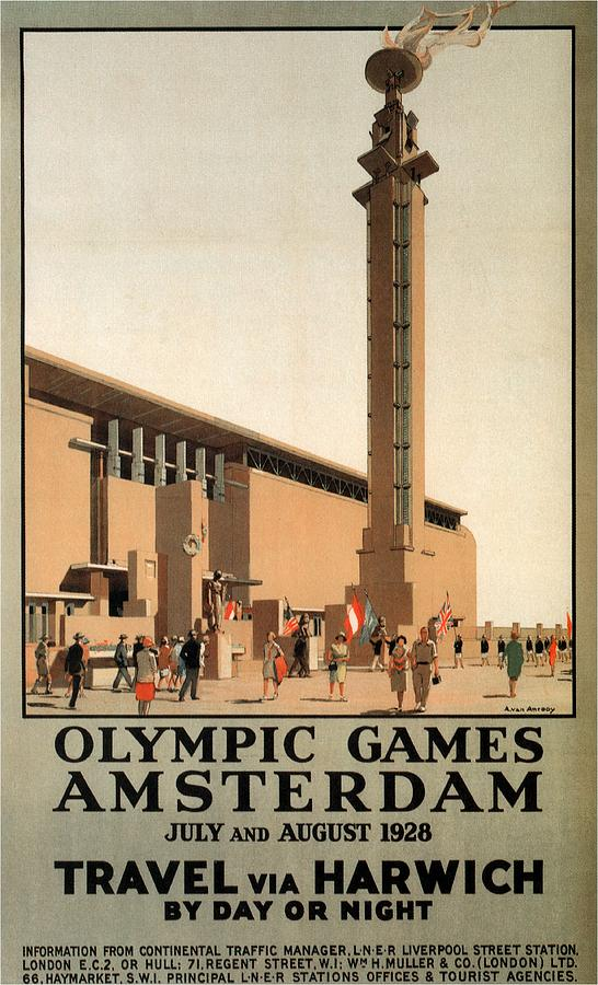 Olympic Games, Amsterdam, Netherlands - Travel Via Harwich - Retro Travel Poster - Vintage Poster Mixed Media