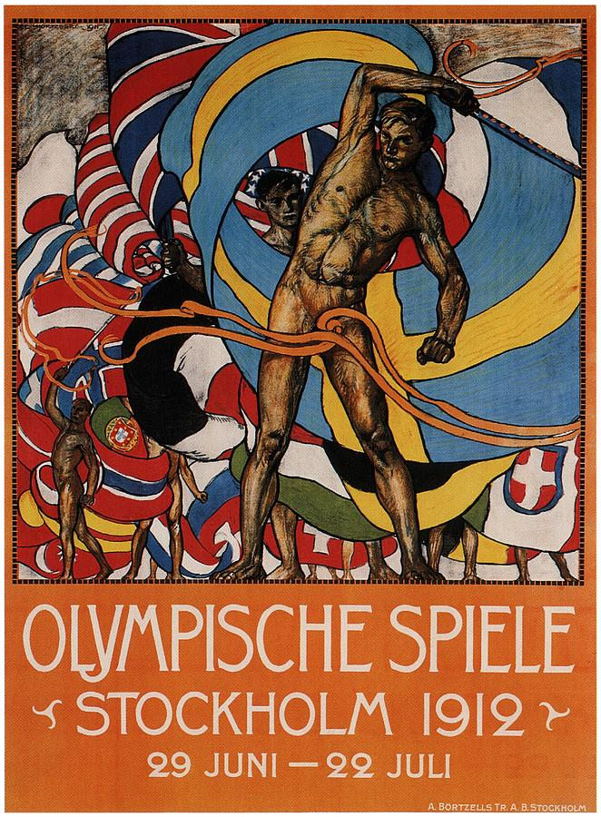 Olympische Spiele 1912 - Stockholm, Sweden - Retro Travel Poster - Vintage Poster Mixed Media