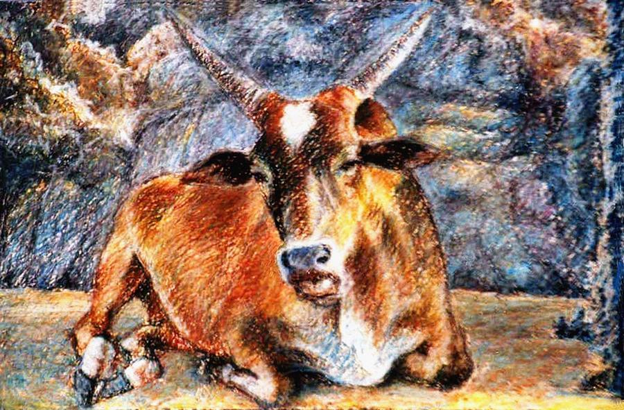 Bull Painting - Om Beach Bull by Claudio  Fiori