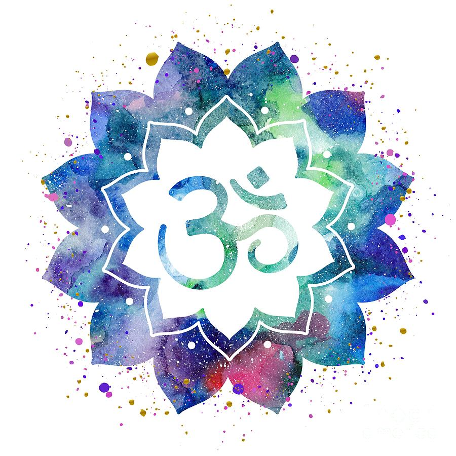 Om Sign Lotus Flower Drawing By Marina Demidova
