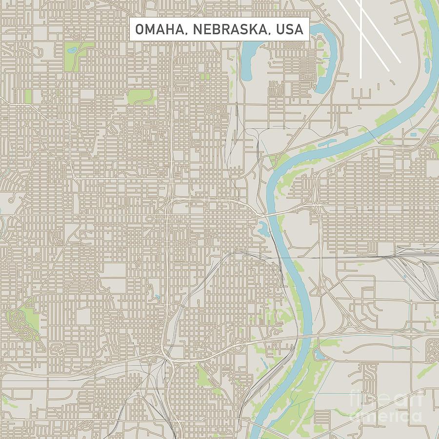 Omaha Nebraska Us City Street Map Digital Art By Frank Ramspott