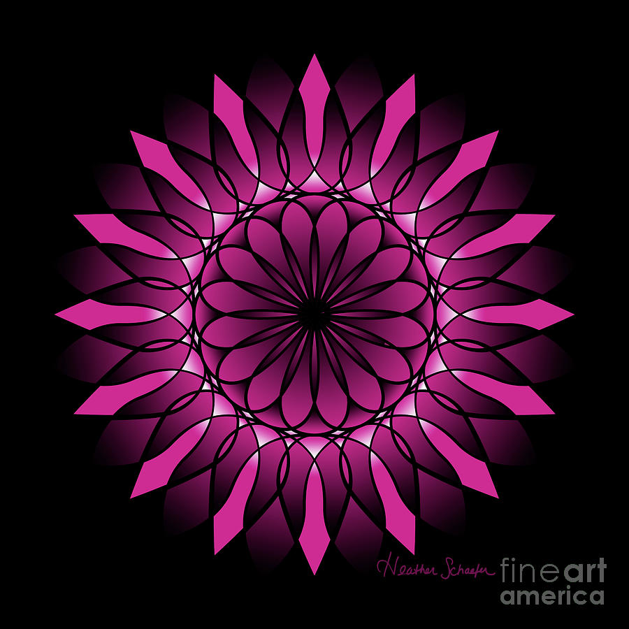 Ombre Pink Flower Mandala by Heather Schaefer
