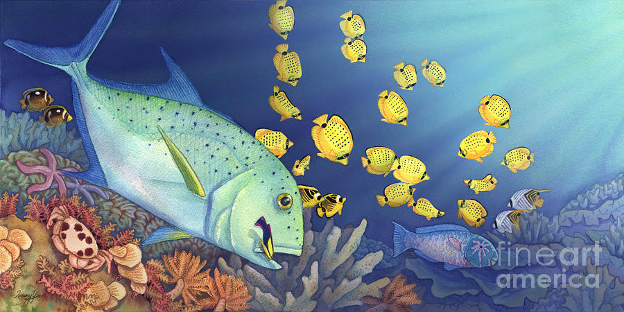 Omilu Painting - Omilu Bluefin Trevally by Tammy Yee