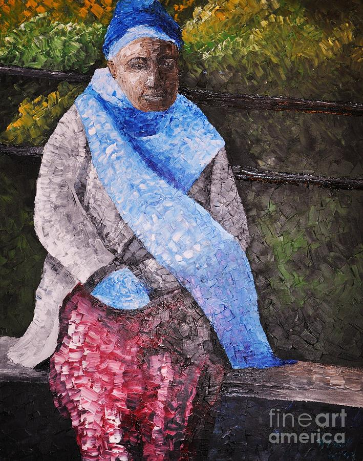 Black Woman Painting - On A Cold Day by Reb Frost