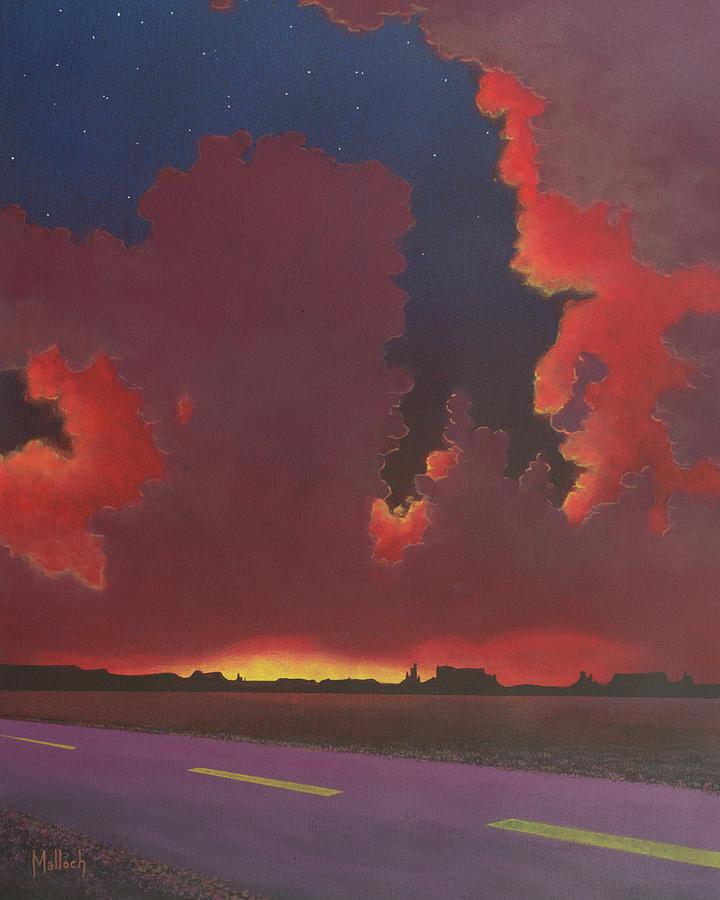 Desert Sunset Painting - On A Dark Desert Highway by Jack Malloch