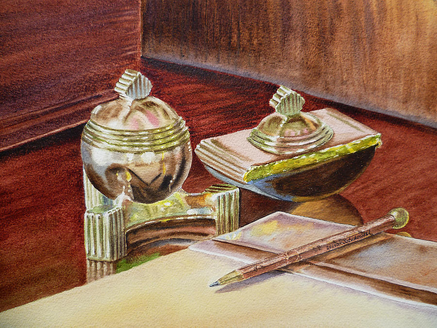 Tao Painting - On A Desk At Eugene O Neill Tao House by Irina Sztukowski