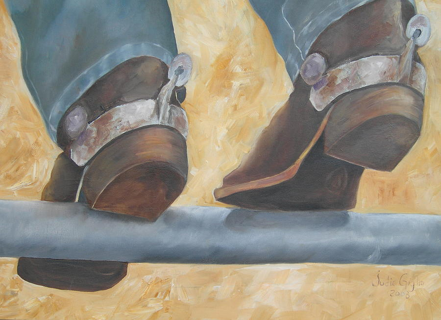 Cowboy Boots Painting - On A Fence by Judie Giglio