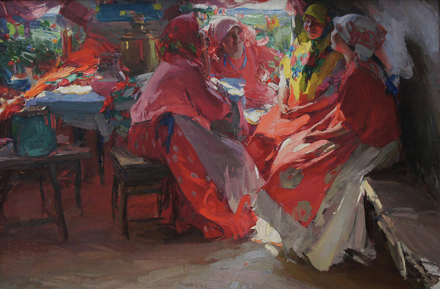 Russian Artist Painting - On a Visit by Abram Arkhipov